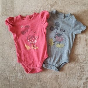 Girls 2 Set Micky and Minnie Mouse Onesies